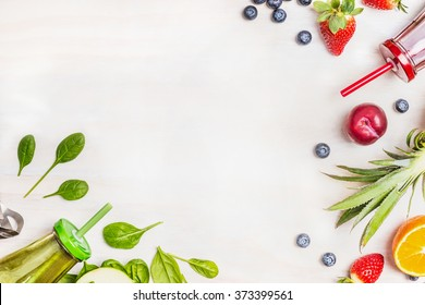 Smoothies and fresh ingredients on white wooden background, top view. Health or detox  diet food concept.