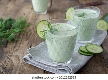 Smoothies from kefir, dill and cucumbers