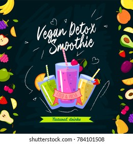 Smoothies time. illustration with different smoothies and fruits on black background. Smoothie detox vegan, fresh and cold beverage