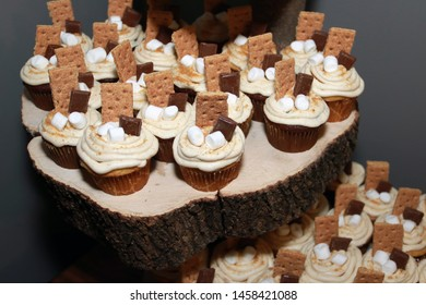 S'more Cupcakes on wooden log