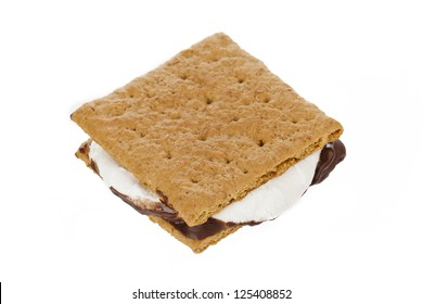 Smores with graham wafer crackers, melted marshmallows and chocolate