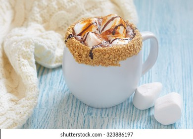 Smores hot chocolate with roasted marshmallow and graham cracker