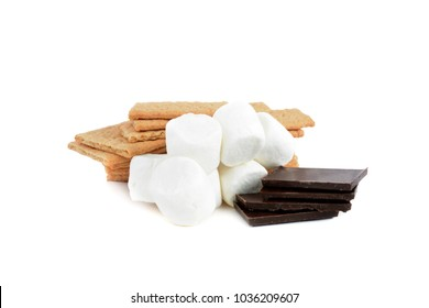 smores ingredients , chocolate, graham crakers,marshmellows isolated on white background