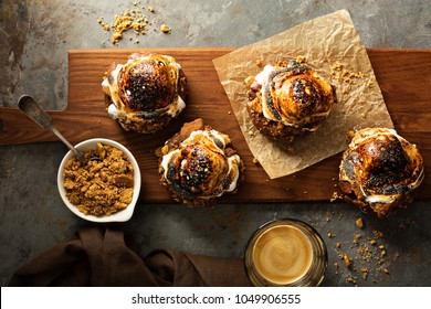 Smores old fashioned fried donut with espresso overhead view
