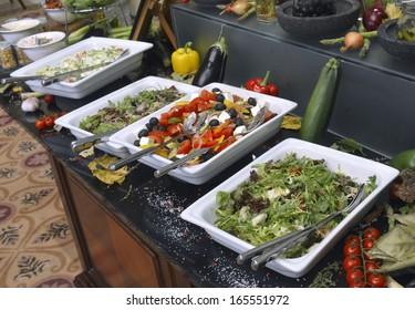 Smorgasbord - food choice in a restaurant. salad menu