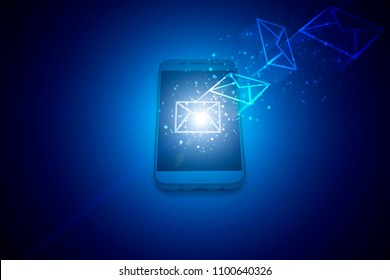 sms notification on mobile phone in neon light, magic. The concept of sms alerts on the cell phone screen. Futuristic background. Mobile phone on a dark background.