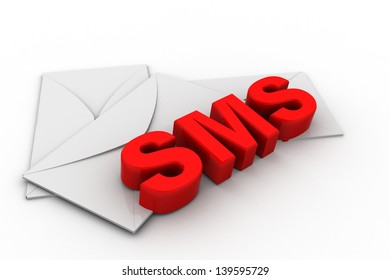 Sms or short message service concept, word sms with mail envelope on white background