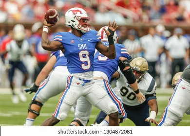 SMU quarterback William Brown (9) drop back to pass during a NCAA Division I football game between the U.S. Naval Academy Midshipmen and Southern Methodist University Mustangs on September 22, 2018,