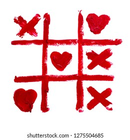 Smudge lipstick drawing. Tic-tac-toe isolated on white background