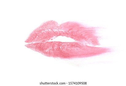 smudged print of parted lips in lipstick isolated on white background