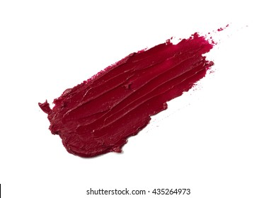 Smudged red color lipstick on background