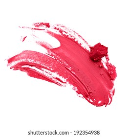 Smudged red lipstick isolated white background