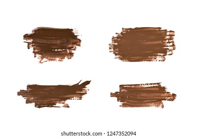Smudged splash of paint as a banner design element, composition isolated over the white background, set of four different versions