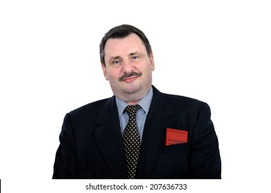 Smug face man holding communist party card in the breast pocket of his jacket