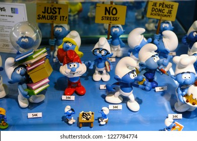 A Smurf characters for sale in retail shop in  Brussels, Belgium Nov. 11, 2018.