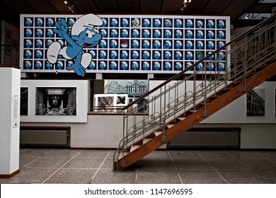A Smurf characters is seen at the Belgian Comic Strip Center in Brussels, Belgium on Apr. 15, 2016