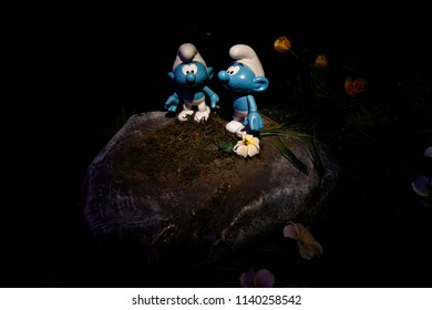 A Smurf characters is seen at the Smurf Experience exhibition marking the 60th anniversary of the creation of the Smurfs by cartoonist Peyo, in Brussels, Belgium June 21, 2018.