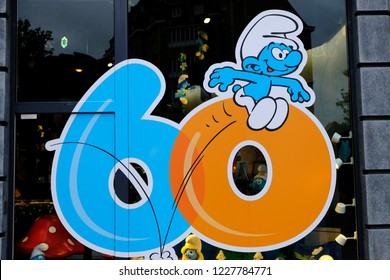 A Smurf characters is seen at the Smurf Experience exhibition marking the 60th anniversary of the creation of the Smurfs by cartoonist Peyo, in Brussels, Belgium Nov. 11, 2018.