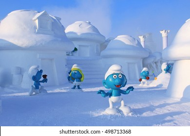 A Smurf village made of snow, where located in the famous amusement park Ice and Snow World, Harbin, China, Dec. 31st, 2012