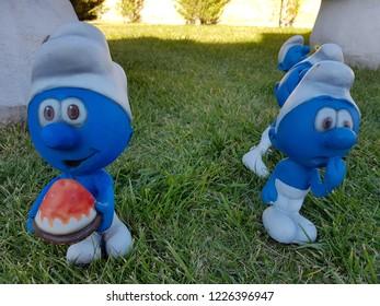 The Smurfs and Smurfs Village. Miniature Smurfs characters. 5 November 2018. Konya - Turkey.