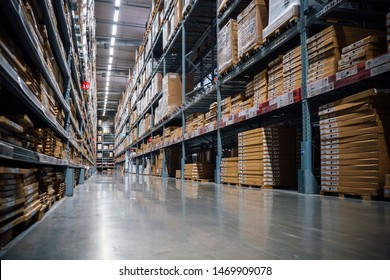 Smut Prakan ,Thailand - August 01,2019 : Warehouse aisle in an IKEA store. IKEA is the world's largest furniture retailer.
