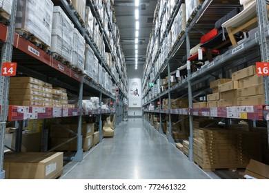 Smut Prakan ,Thailand - December 10,2017 : Warehouse aisle in an IKEA Bangna branch in Mega Bangna, Samut Prakan, Thailand. Ikea is the world's largest furniture retailer store.Ikea is a slef service