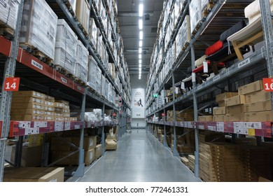 Smut Prakan ,Thailand - December 10,2017 : Warehouse aisle in an IKEA Bangna branch in Mega Bangna, Samut Prakan, Thailand. Ikea is the world's largest furniture retailer store.Ikea is a slef service