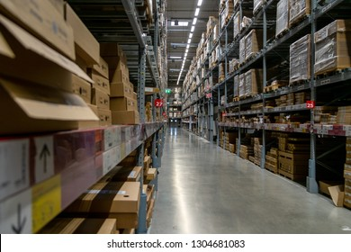 Smut Prakan ,Thailand - Febuary 03,2019: Warehouse aisle in an IKEA store. IKEA is the world's largest furniture retailer.
