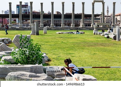 Smyrna agora. Ancient ruins attract the attention of tourists and photographers. Agora is located in the center of Izmir. Izmir Turkey. May 25, 2019