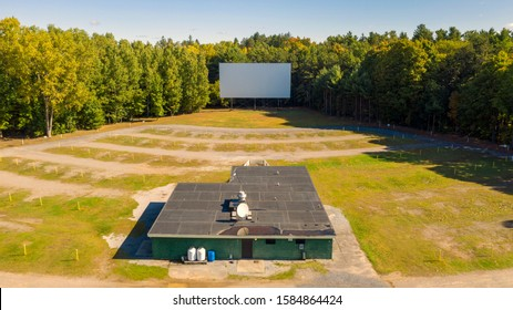 The snack bar sound poles and projection screen still stand at this old Drive In