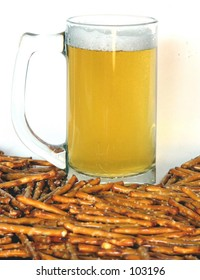 A snack of beer and pretzels on a white background
