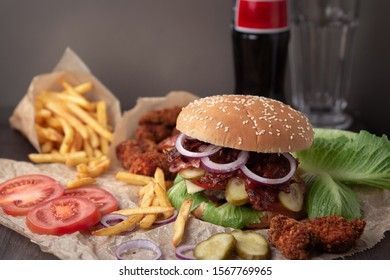 snack Burger with fries and a drink