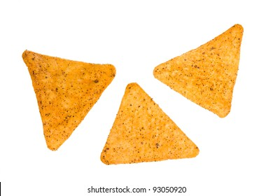 Snack Chips Macro Isolated on a White Background