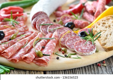 Snack with delicious French and Italian salami