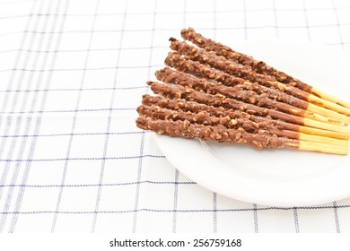 Snack food biscuit stick chocolate coated