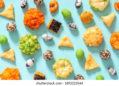 snack, japanese, rice, cracker, various, background, blue, top view, flat lay, pattern, wasabi, fish, peanuts, mix, close-up, bowl, food, eat, tasty, japan, delicious, brown, spicy, cuisine, white, as