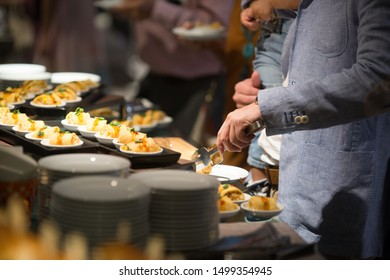 Snack set of people group catering buffet food indoor in luxury, Inside the hotel.