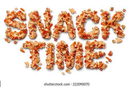 Snack time concept with a group of salty party snacks shaped as letters as a symbol of fatty food treats for watching TV or sports events as a delicious addictive choice but unhealthy option.