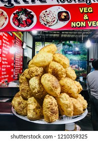 Snacks Big poori displayed outside hotel near railway station coimbatore city tamilnadu state india clicked on 22 October 2018