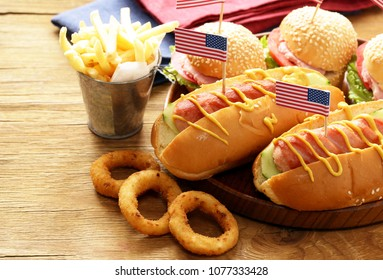 Snacks for Independence Day celebrations - hot dogs and burgers
