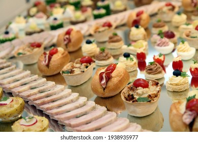 Snacks on served banquet table as nice gourmet background