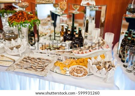 Snacks Pistachios Beer Catering Wedding Reception Stock Photo Edit