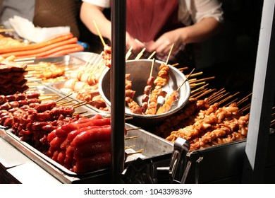 Snacks sold at a traditional Taiwanese night market in Tainan