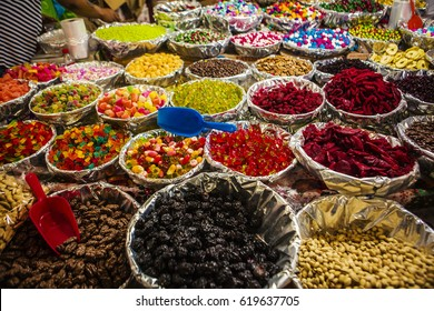 Snacks such as peanuts,jelly beans and candies are sold at market in Mexico City.