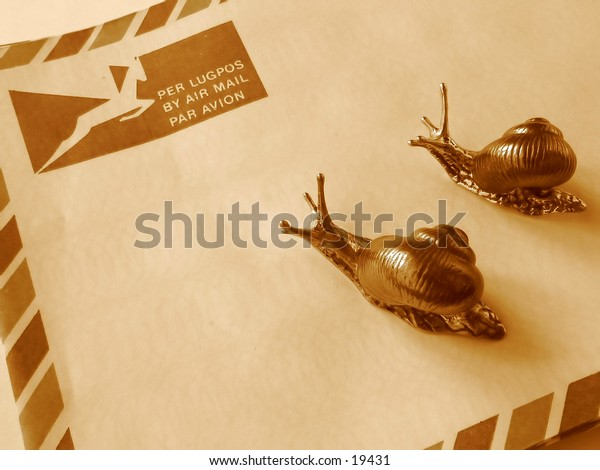 Snail Mail - Two snails on a South African airmail envelope.