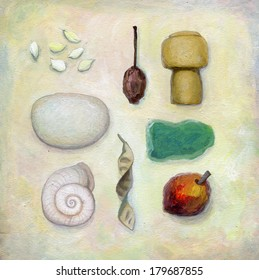 snail shell cork bottle dry seeds grain sea stone tableau