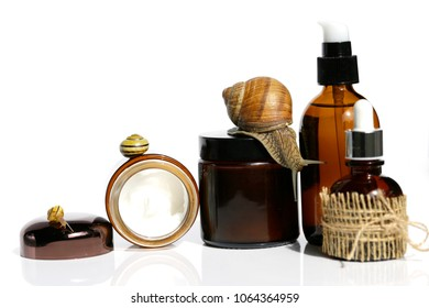 Snail slime. Snail Cream Product. cosmetic  set with snail mucus.