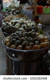Snails, clams and other seafood for sale  at the Ben Thanh market, Saigon (Ho Chi Minh City),  Vietnam
