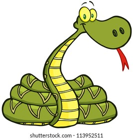 Snake Cartoon Character. Raster Illustration.Vector version also available in portfolio.