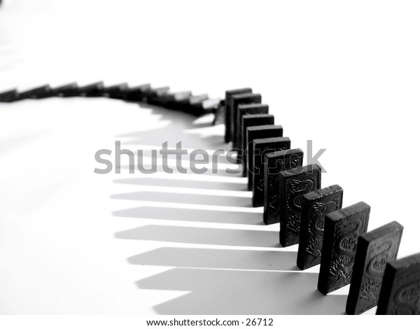 A snake of dominoes falling